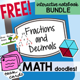 FREE Grades 3-6 Math Doodles Notebook Bundle 9 - Fractions and Decimals