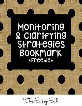 *Free* Monitoring and Clarifying Strategies Bookmark