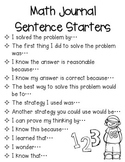 {Free!} My Math Talk Sentence Starters for Journals/Notebooks