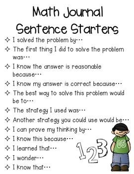 {Free!} My Math Talk Sentence Starters for Journals/Notebooks