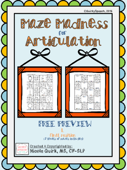 *Free Preview* Maze Madness for Articulation - L (final position)