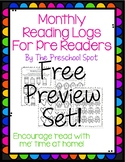 {Free Preview Set} Monthly Preschool Reading Logs - For Pr