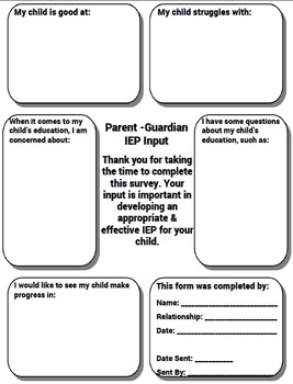 - Free - Special Education IEP Parent Input Form - Free -