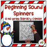 Beginning Sound Snowman Spinners {no prep letter sound center}