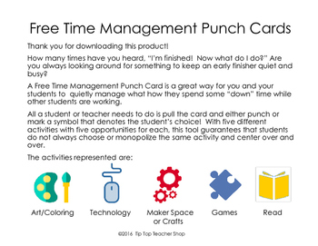"""""""Free Time"""" Management Punch Cards"""