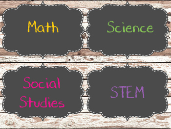 **Free Version** Distressed Wood and Chalkboard Subject Signs