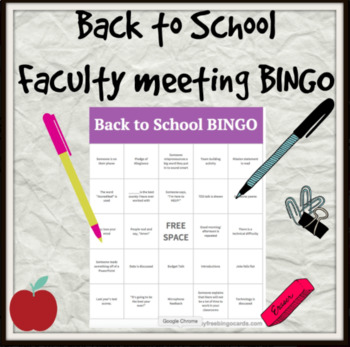 *Freebie* Back to School Faculty Meeting BINGO