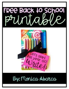 {Freebie} Back to School Gift Printable