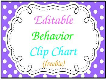 * Freebie * Behavior Clip Chart (editable)