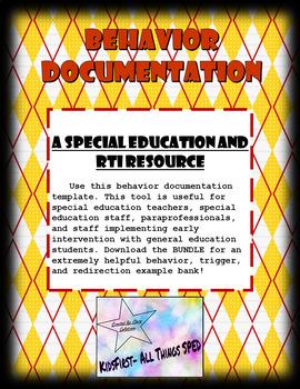 **Freebie** Behavior Documentation. (Behavior, Antecedent, Redirection)
