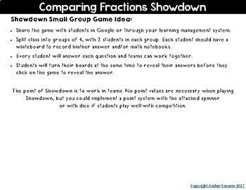 {Freebie} Comparing Fractions Showdown Digital Google Activity