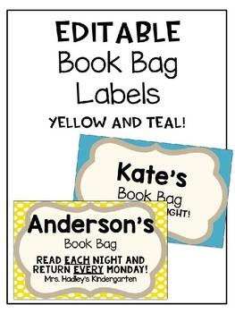 *Freebie* Editable Book Bag Labels