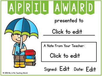 {Freebie} Editable Reading Awards