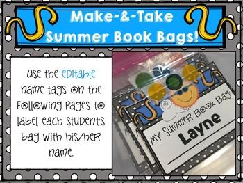 *Freebie* Editable Summer Book Bags Materials!