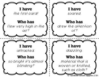*Freebie* I Have Who Has Vocab Game (Reading Wonders 4th Grade Unit 2 Week 1)