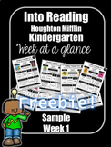 FREEBIE Into Reading Kindergarten Week at a Glance Houghto