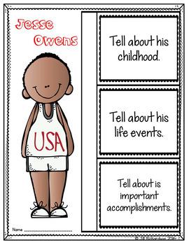 (Freebie) Jesse Owens Writing! Great Black History Month Activity
