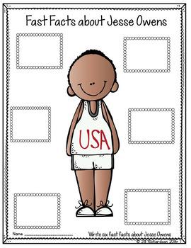 Jesse Owens Activity Writing! Great Black History Month Activity FREEBIE