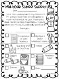Mid Year School Supply List
