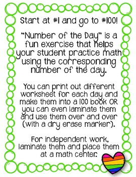 {Freebie} Number of the Day Worksheets