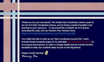 Vocabulary Game: Strengthen Content Knowledge the Fun Way!  Free Sneak Peak