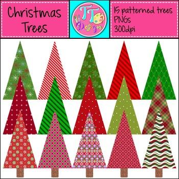 {Freebie} Patterned Christmas Trees Clip Art CU OK