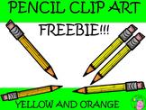-Freebie- Pencil Clip Art // Yellow and Orange Color