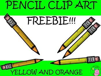 -Freebie- Pencil Clip Art // Yellow and Orange Color