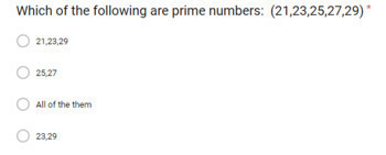 (Freebie) Prime and Composite Numbers Quiz - for use with Google Forms