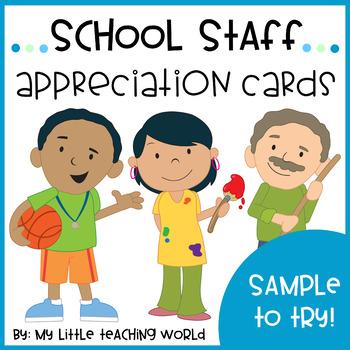 {Freebie} School Staff Appreciation Cards