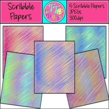 {Freebie} Scribbles Digital Background Papers (8.5 x 11) Clip Art CU OK