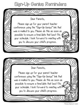 {Freebie} Sign Up Genius Parent Conference Reminder  Notes