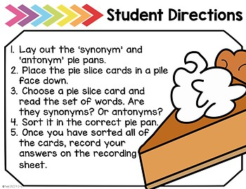 *Freebie* Slices of Synonyms (and Antonyms): A Literacy Center