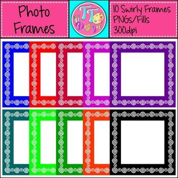 {Freebie} Swirl Square Photo Frames Clip Art CU OK