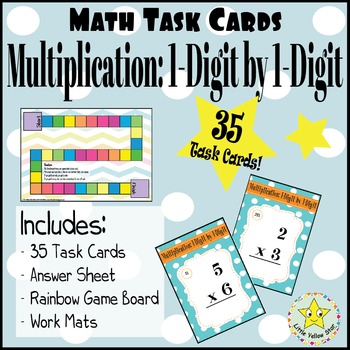 ***Freebie*** Task Cards - Multiplication: 1-Digit by 1-Digit [35 Task Cards]