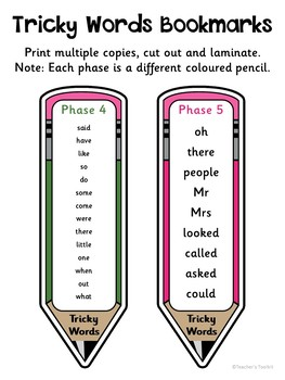 {Freebie} Tricky Words Pencil Bookmarks {UK Teaching Resources}
