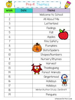 {Freebie!} Weekly Themes List for Pre-K and Preschool