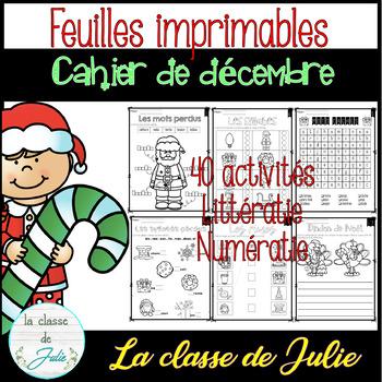 ☀️French☀️ Christmas Math and Literacy Printables - Cahier de décembre / Noël