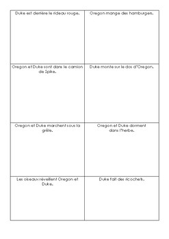 [French Language Art] Le voyage d'Oregon: matching game and worksheets