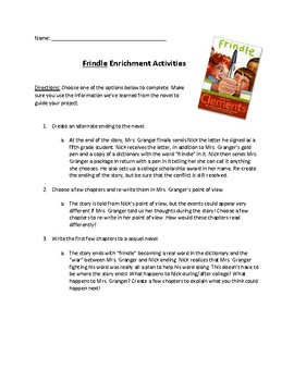 """""""Frindle"""" choice end of book activities"""