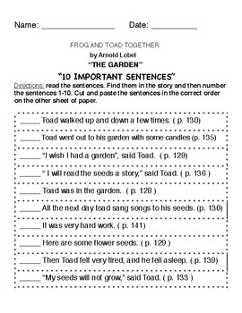 """""""Frog and Toad Together""""- THE GARDEN -10 important sentences ( RS grade 1 )"""