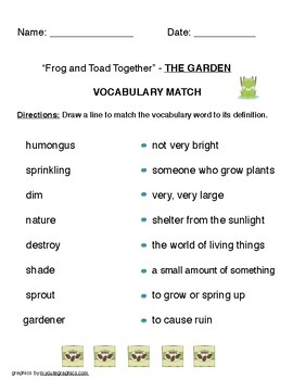 """Frog and Toad Together"" - THE GARDEN  ( Reading Street grade 1) VOCABULARY"