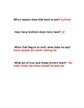 """""""Frozen"""" Movie Guide Questions"""