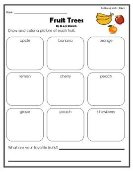 """""""Fruit Trees"""" Guided Reading Program Work"""