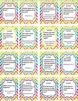 (Full set) Task cards LA ESCUELA REGLAS Spanish 2 (Realidades 1A)