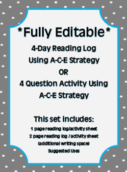 *Fully Editable* A-C-E Reading Log / Station Activity
