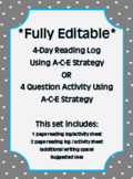 *Fully Editable* A-C-E Reading Log / Station Activity