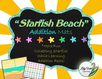 """**Fun ADDITION MATS- """"STARFISH BEACH"""" Themed!!"""