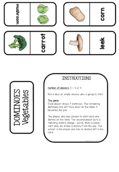 Dominoes - Vegetables Vocabulary