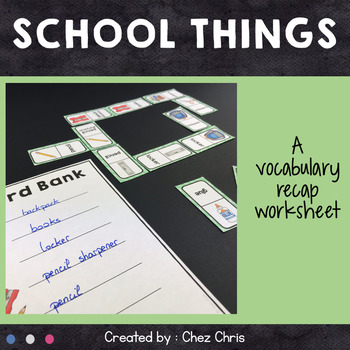 Dominoes -  School Things Vocabulary - Set 1